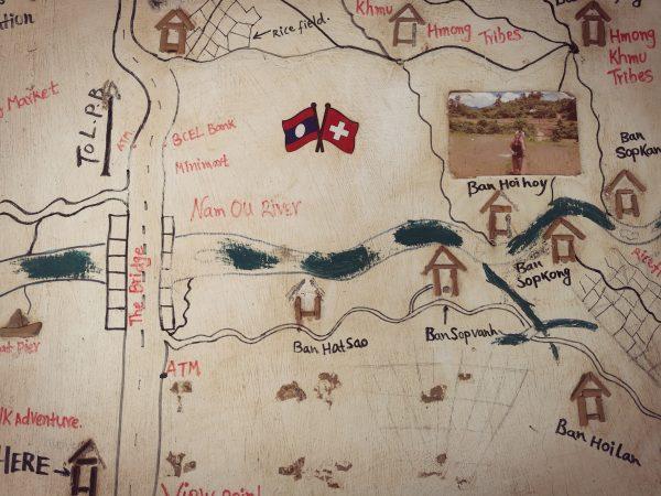 Mapa przedstawiająca Nong Khiaw i okolice w Laosie.