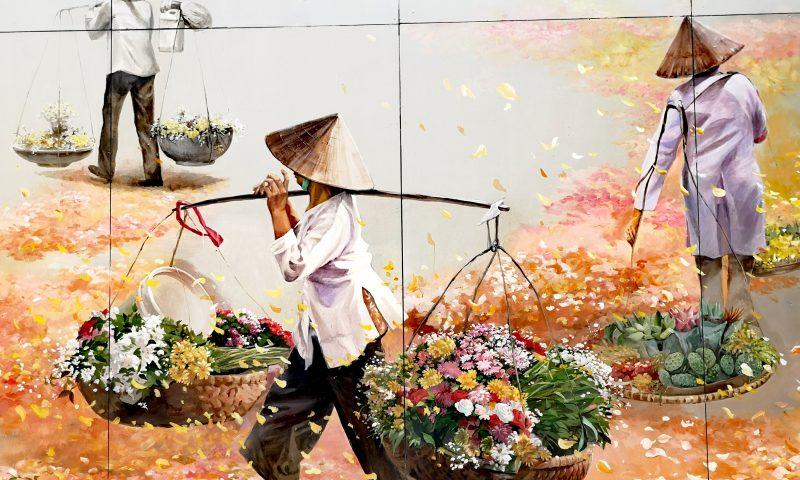 Atrakcje Hanoi - Street Art Mural w Hanoi - Życie Wietnamczyków. Vietnamese Life