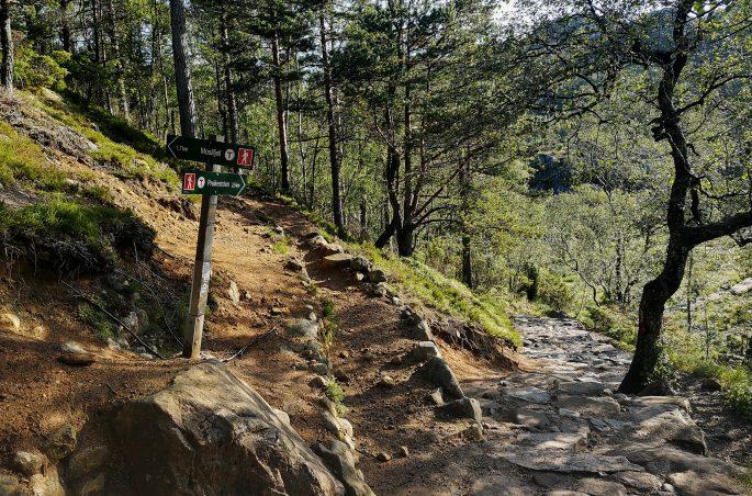 Oznaczenia szlaku na ambonę (Pulpit Rock). Trekking in Norway
