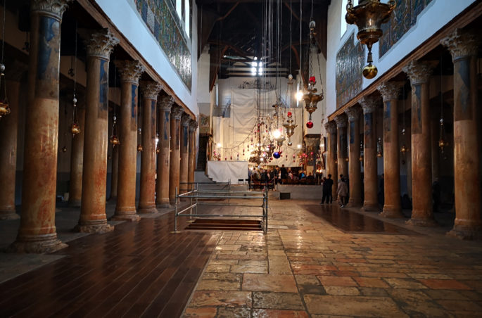 Bazylika Narodzenia Pańskiego - stajenka Jezusa Chrystusa w Betlejem w Izraelu. Israel-Bethlehem star