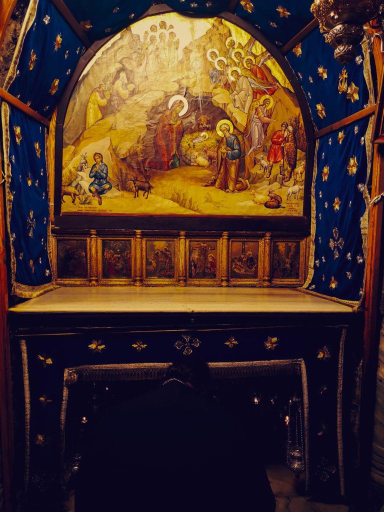 Bazylika Narodzenia Pańskiego - stajenka Jezusa. Miejsce żłobka Jezusa Chrystusa. Israel-Betlejem