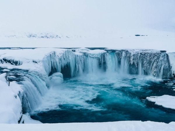 Co zobaczyć na Islandii zimą. Islandia w marcu. Wodospad Goðafoss (Wodospad Bogów)